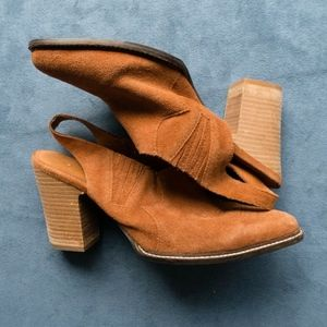Schuler & Sons Anthropologie Camel Suede  Booties